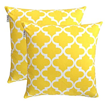 TreeWool Throw Pillowcase Trellis Accent Pure Cotton Decorative Cushion Cover (22 x 22 Inches / 55 x 55 cm; Yellow) - Pack of 2