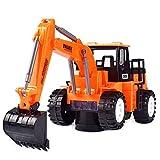 ALYHYB Excavadora eléctrica Accousto-Optic Toy,Simulation Engineering Vehicle, Construcción Camión con Música, Proyección de Luz 3D, Juguetes Coches Regalos para Niños y Niños Cumpleaños