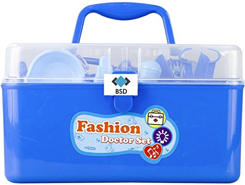 Kit médical Docteur - Valise - Sac de Docteur kit médical - Set avec Accessoires Bleu