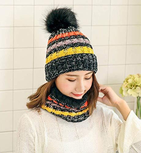 ERKEJI Einfache Frauen gestrickte Hut hohe Qualität Winter Winter Mädchen Ball Ski Pelz Pelz Hut Pompoms warme Balaclava gestrickte Hüte Schal