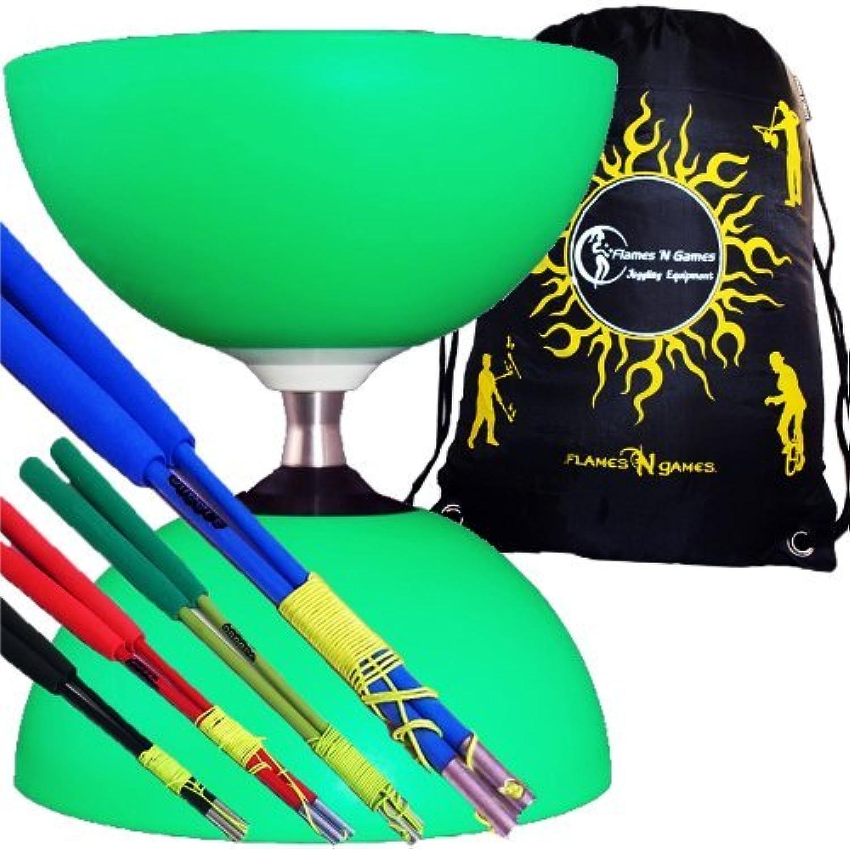 Henrys CIRCUS FREE HUB Pro LARGE Diabolo Set (GREEN) Triple Ball Bearing Clutch Rubber Diabolos + Ultralight Colour FIBRE Sticks, Diablo String & Travel Bag  (Black Handsticks)