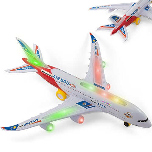 Bump and Go Airplane Toy - Kidsthrill Air BOU A380 Plane w/ Jet Lights and Sounds - (Colors May Vary)