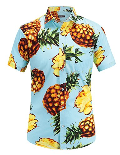 JEETOO Men's Casual Pineapple Short Sleeve Button Down Hawaiian Aloha Shirt(M,Blue)