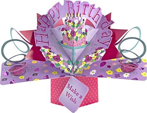 """Suki Gifts International, Biglietto Pop up per Auguri di Buon Compleanno, con Immagine della Torta e la Scritta in Inglese """"Happy Birthday"""", Multicolore"""