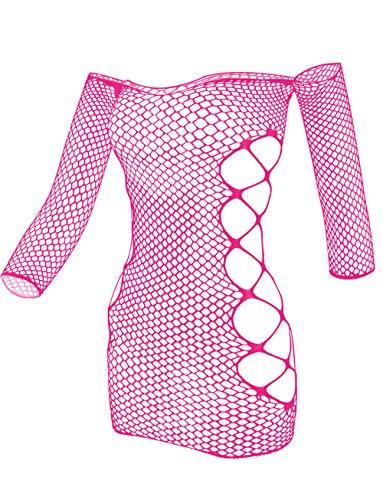 LEMON GIRL Women Fishnet Lingeri BadyDolls Chemise Stocking Tights Mini Dress Size US2-12 Rose