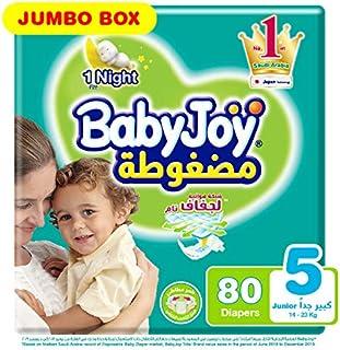 Babyjoy Compressed Diamond pad Diaper, Jumbo Box Junior Size 5, Count 80, 14 - 25 KG