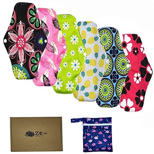 ZCOINS 6 almohadillas sanitarias lavables para mujer para día y flujo medio, toalla menstrual reutilizable de bambú (26 x 18 cm)