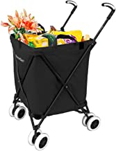 The Original VersaCart Transit Folding Shopping and Utility Cart, Water-Resistant Heavy-Duty Canvas with Cover, Double Front Swivel Wheels, Compact Folding, Transport Up To 120 Pounds, Black