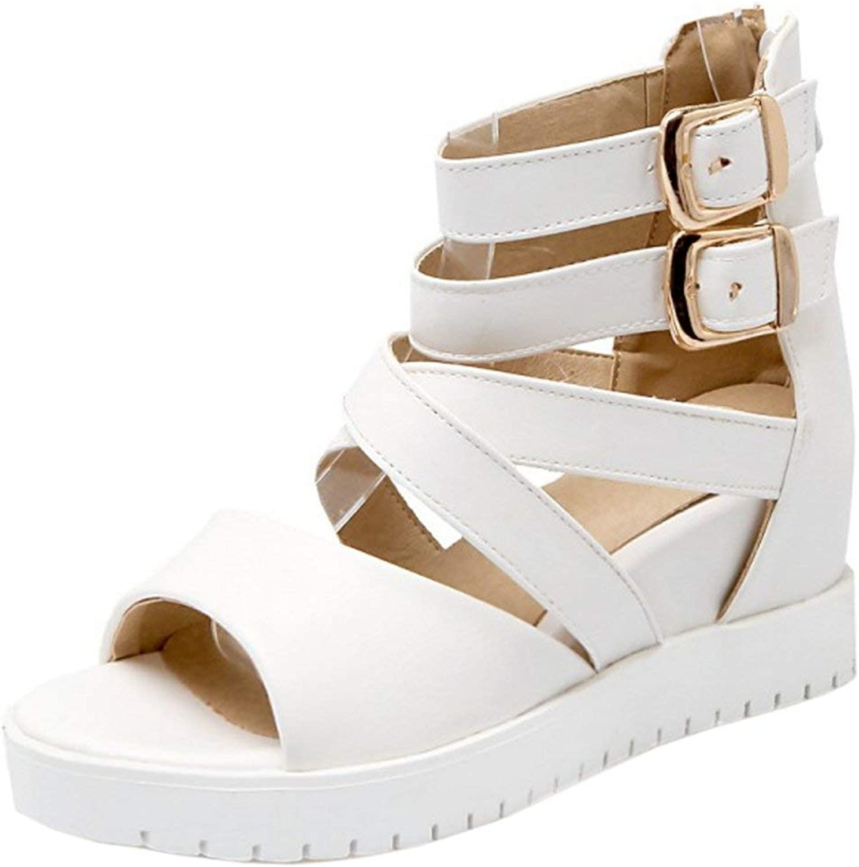 Unm Women Comfort Ankle Buckle Strap Hidden Heel Sandals with Zipper