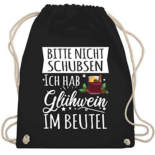 Sportbeutel bedruckt Geschenk - Bitte nicht schubsen Ich habe Glühwein im Beutel - weiß - Unisize - Schwarz - Glühwein - WM110 - Turnbeutel und Stoffbeutel aus Baumwolle