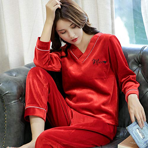 Bayrick Conjunto de Dos Piezas de Pijama de Terciopelo Dorado para Mujer, Mangas largas para el hogar-XXXL_Rojo Festivo