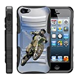 TurtleArmor | Compatible with Apple iPhone SE Case | iPhone 5/5s Case [Hyper Shock] Armor Solid Kickstand Impact Silicone Holster Clip Sports Video Games - Motocross Bike