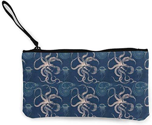 Flyup Octopus Jellyfish Nautilus Canvas Geldbörse Unisex Portemonnaie Mini Geldbörse Schlüsselhalter Karten Organizer mit Reißverschluss für Frauen und Männer Casual Daypacks