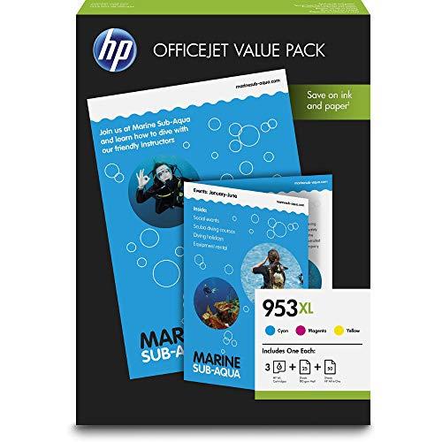 HP 953XL Office Value Pack, 3 Druckerpatronen mit hoher Reichweite (Blau, Rot, Gelb), 50 Blatt Druckerpapier (80g), 25 Blatt Druckerpapier matt (180g) für HP OfficeJet Pro
