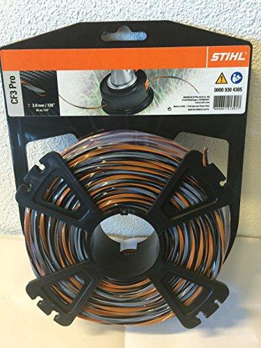 Stihl 00009304305 Hilos de corte en cruz con porcentaje de carbono, Naranja, 3.0mm / 45m