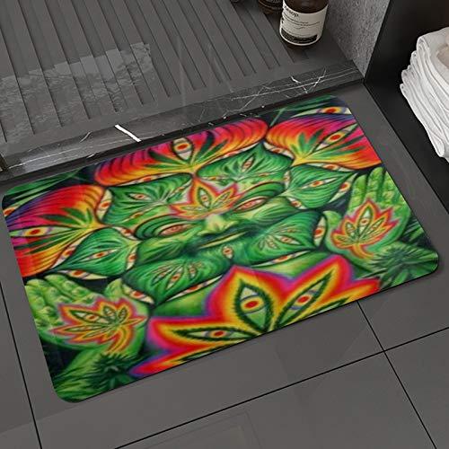 Alfombra de baño y Alfombra antideslizanteMarihuana de Marihuana de Hoja de Marihuana Third Eye,Alfombrilla de Ducha de Microfibra (50x80cm)