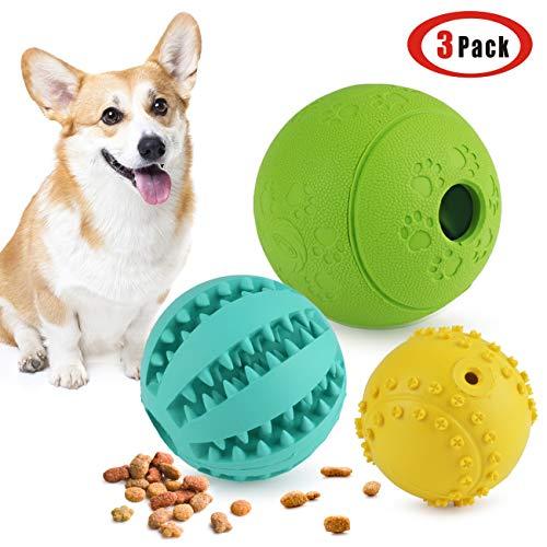 Idepet Cane Palla Set di 3, non tossico Fetch Alimentatore cigolante Giocattoli per animali Pulizia dei denti Masticazione Formazione IQ Training