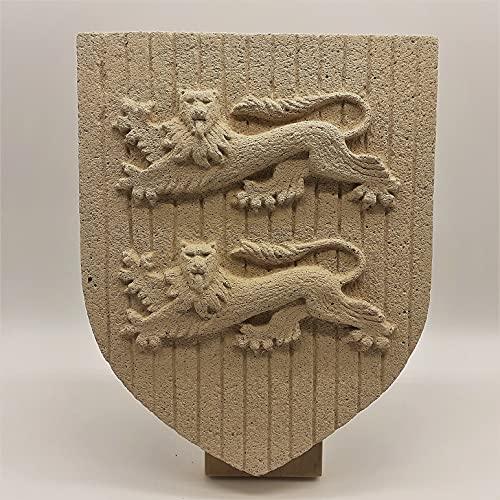 Escudo Normandie, escultura de Viga de piedra reconstituida, artesanal francesa