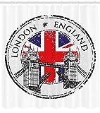 Nyngei Britischer Duschvorhang London England Grunge-Stempel mit Flaggen nationalem grafischem Gewebe-Badezimmer-Dekor-Set mit denhellgrau