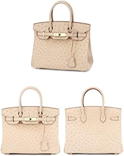 LJJ Apricot Lady Ostrich Pattern Leather Elegant Luxury Classic Fashion Banquet Woman Birthday Party European American Handbag 30 * 16 * 22cm (Color : Beige)