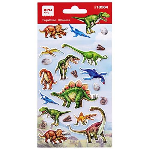 APLI Kids 18564-Pegatinas de Dinosaurios. Incluye 1 Hoja con 18 Pegatinas de Adhesivo Permanente. Ideales para Scrapbooking, decoración o DIY...