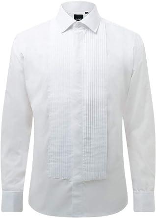 Dobell Camisa de Vestir con Delantero Plisada, Cuello estándar