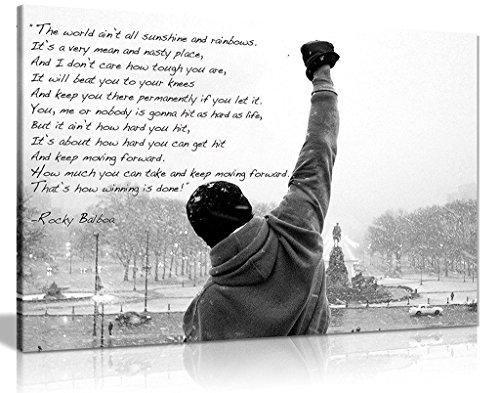 Rocky Kunstdruck-Leinwand mit Zitat zum Thema Hoffnung, A1 76x51 cm (30x20in)