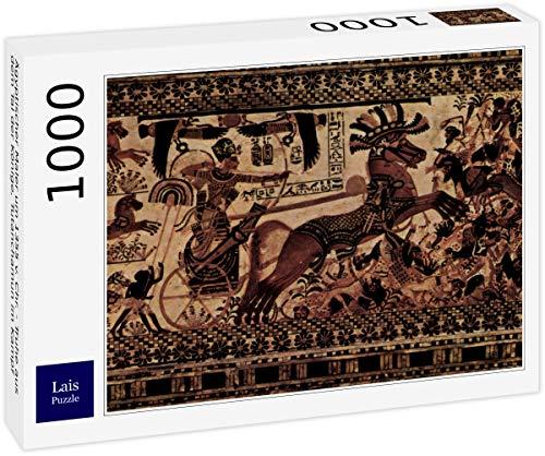 Lais Puzzle Pintor Egipcio Alrededor de 1355 AC Chr. - Cofre del Valle de los Reyes, Tutankhamen en Batalla 1000 Piezas