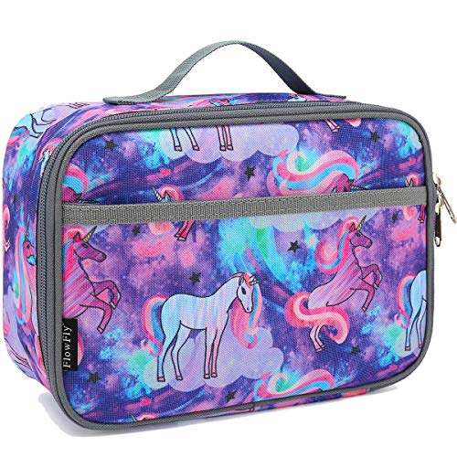 Kids Lunch box Insulated Soft Bag Mini Cooler Back to School Thermal Meal Tote Kit for Girls, Boys,Women,Men by FlowFly,Unicorn