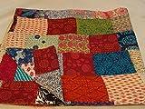 Tribal Asian Textiles Kantha Decke/Überwurf, handgefertigt, mehrfarbig/Patchwork-Muster, 229x274cm, Kingsize, 1111