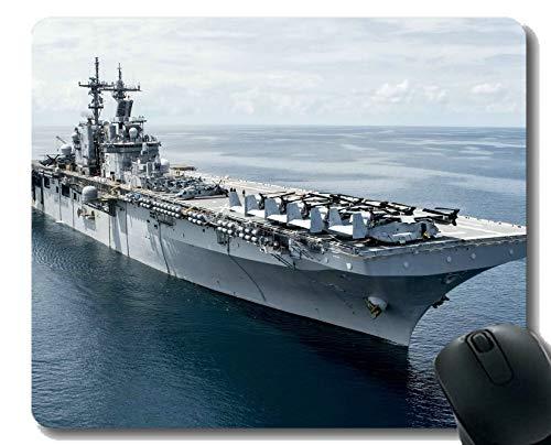 Yanteng Alfombrilla de ratón con Borde Cosido, USS Kearsarge (LHD 3) Alfombrilla de ratón para Buque de Guerra, Alfombrilla Antideslizante con Base de Goma