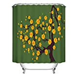 JgZATOA Cortina De Ducha Verde Baño Impermeable Cortina De Árbol De Flor Amarilla Cortina De Bañera Cortina Decorativa De Baño De Poliéster con Ganchos180X200Cm