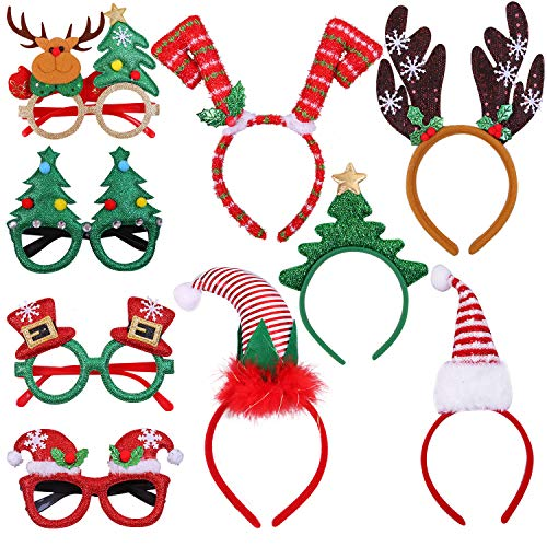 Aneco 9 Pack Christmas Headbands Christmas Glasses Frames Xmas Party Hat Headwear Christmas Costume Accessory for Christmas Party Supplies
