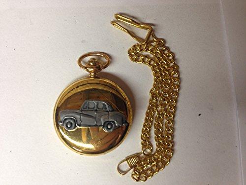 Austin A30 4 porte Saloon ref6 auto stemma in peltro effetto lucido, colore: oro su una custodia regalo orologio da taschino al quarzo, made in sheffield