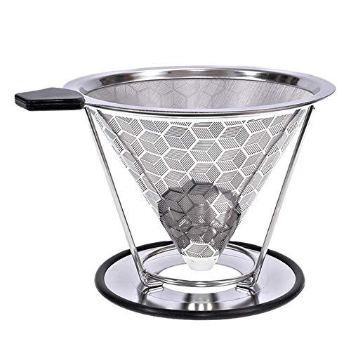 miss-an 304 Stainless Steel Double - Doppeltes Kaffee Leck Set Mit Reinigungsbürste,wiederverwendbarer Kaffeefilter Edelstahl