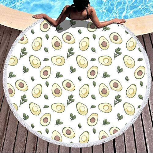 yjduop Summer Beach-Towels Pool-Towels Fruit Pattern Beach Throw Blanket Outdoor Picnic Mat with Tassels Ultra Soft Multi-Purpose Pool Mat for Yoga Picnic White 59 inch