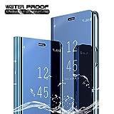 COWEN Funda para Samsung Galaxy A50 Smartphone,Soporte Plegable,360 °Complete Package Protection Espejo Brillante Standing Mirror Flip Funda-Azul