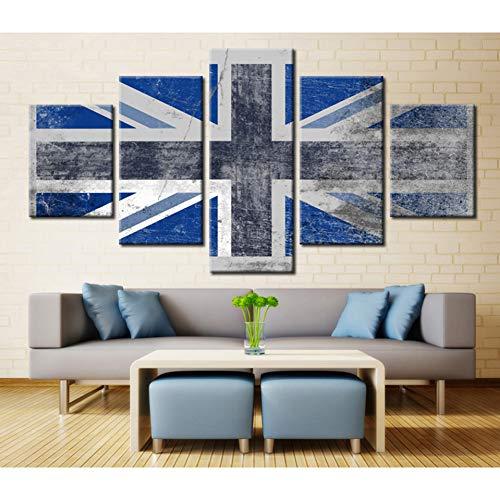 GIAOGE schilderij canvas kunst schilderij modulaire afbeelding Hd gedrukt Home Decoration 5 panelen vlag uit Engeland voor de woonkamer wandschilderijen Posters Frame 30 x 40 30 x 60 30 x 80 cm.