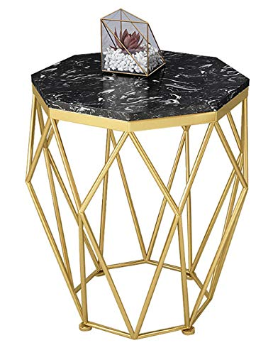 Table d'appoint en Fer forgé/Table Basse en marbre, Petit Appartement Simple, mobilier de Table de Salon Moderne, Support en métal, Rond, Or/Noir (47 × 47 × 56cm)