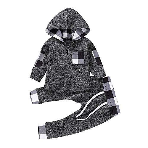 Covermason Baby Babykleidung Neugeborene Winter,Covermason Säugling Kleinkind Baby Jungen Mädchen Plaid Pullover mit Kapuze Oberteile Tops+ Hosen Set Outfits (18-24M, Grey)