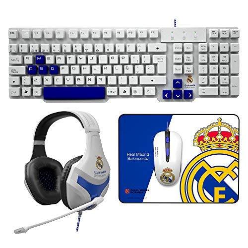 Mars Gaming BLRM3 - Pack Teclado,ratón,Auriculares y Alfombrilla del Real Madrid