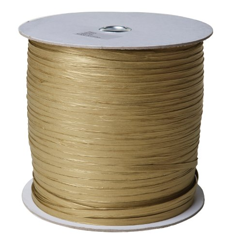 Jillson Roberts .25' x 1000 Yard Bulk Spool Paper Raffia Ribbon Available in 16 Colors, Gold,