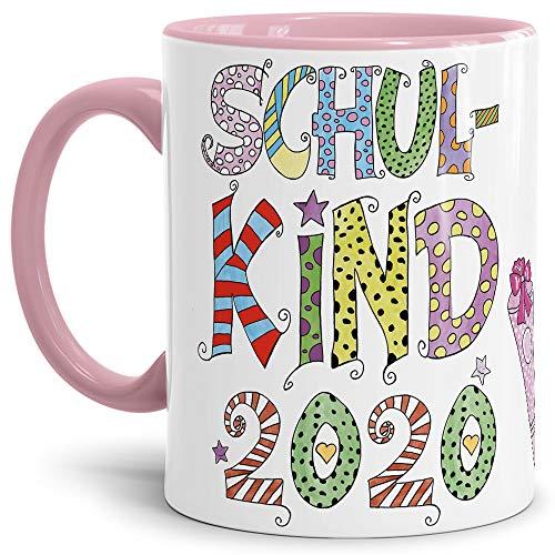 Tassendruck Geschenk Tasse zur Einschulung für Kinder mit Spruch - Schulkind 2020 - Geschenkidee zum Schulanfang/Erinnerung Schulbeginn/Erstklässler 2020 Mädchen - Innen & Henkel Rosa