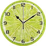 NIUMM Reloj De Pared Citrus Lime Limón Naranja Rebanada En Verde Menta Redondo Cuadrado Acrílico Reloj De Pared Pintura Al Óleo Hogar Oficina Escuela