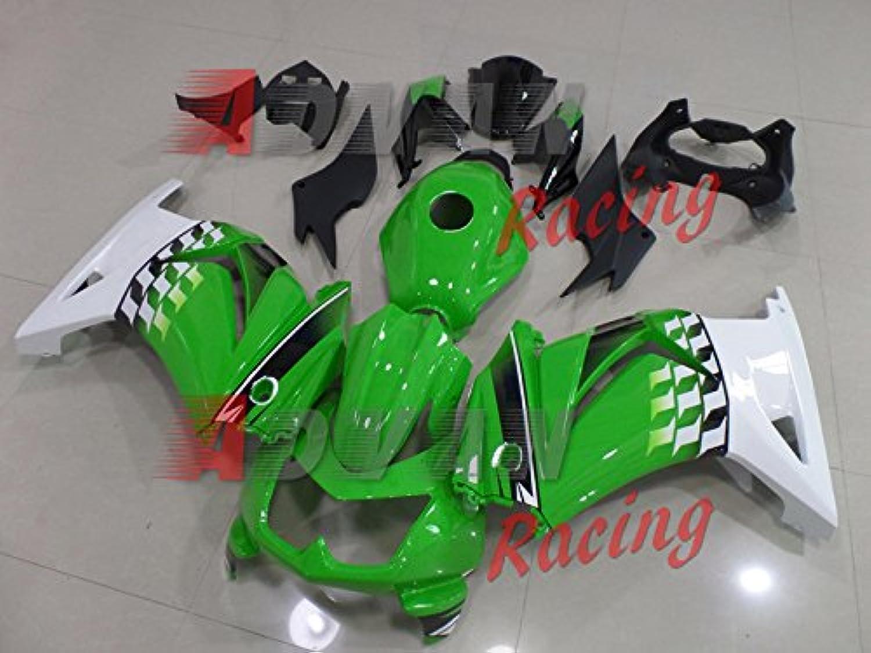 Advanblack Green White Racing Fairings Plastic Kit for 08 09 10 11 12 Kawasaki Ninja 250R EX250 (20082012)