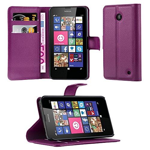 Cadorabo Hülle für Nokia Lumia 630/635 - Hülle in Mangan VIOLETT – Handyhülle mit Kartenfach & Standfunktion - Case Cover Schutzhülle Etui Tasche Book Klapp Style