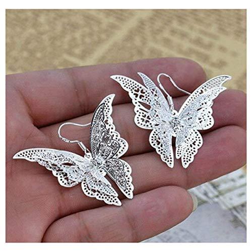Comelyjewel Women's Silver Plated Filigree Butterfly Drop Dangle Hook Earrings (Filigree Butterfly)