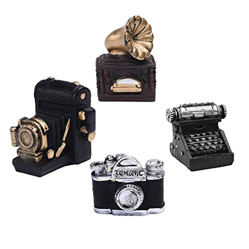 Beautyflier Pack of 4 Resin Mini Ancient Camera Camcorder Typewriter Record player Statue Craved Figurine With Antique Hand Painting for Home Decorations