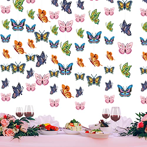 6 Decoraciones Colgantes de Mariposas Coloridas Guirnalda Decorativa Colgante de Mariposa Bandera de Empavesado de Mariposa de Papel para Jardín Hogar Bodas Fiestas Baby Shower Cumpleaños
