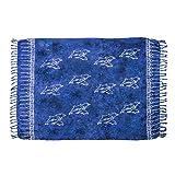 MANUMAR Damen Pareo blickdicht, Sarong Strandtuch in royal blau schwarz mit Delfin Motiv, XL Größe 175x115cm, Handtuch Sommer Kleid im Hippie Look, für Sauna Hamam Lunghi Bikini